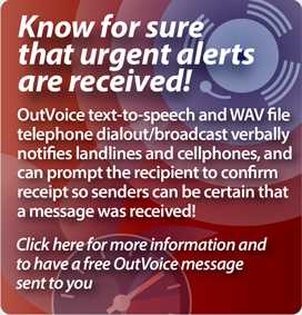 Interpage OutVoice  Text-to-Speech and WAV voice broadcast and messaging service  promitional link. Click here for additional details on the  Interpage OutVoice service.